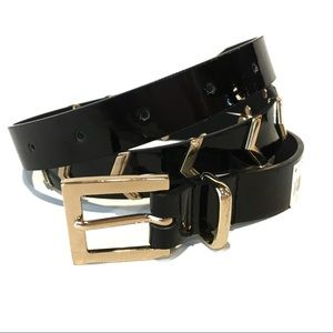 NWT STYLE & CO. PATENT BLACK BELT GOLD SM